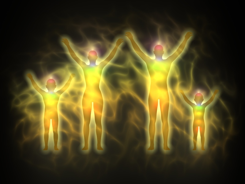 Family - woman, man and children - energy body, aura, chakras